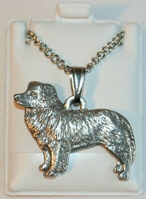 Border Collie Dog Harris Fine Pewter Pendant w Chain Necklace USA Made