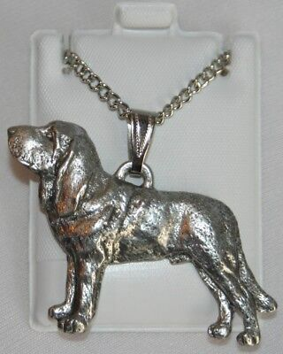 Bloodhound Dog Harris Fine Pewter Pendant w Chain Necklace USA Made