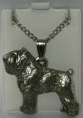 Bouvier des Flandres Dog Harris Fine Pewter Pendant w Chain Necklace USA Made