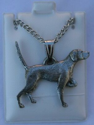 English Pointer Dog Harris Fine Pewter Pendant w Chain Necklace USA Made