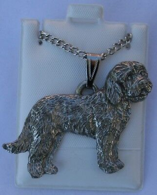 Goldendoodle Dog Harris Fine Pewter Pendant w Chain Necklace USA Made