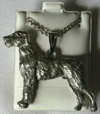 Irish Wolfhound Dog Harris Fine Pewter Pendant w Chain Necklace USA Made