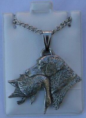 Labrador Head with Duck Dog Harris Fine Pewter Pendant w Chain Necklace USA Made