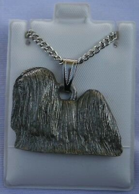 Lhasa Apso Show Cut Dog Harris Fine Pewter Pendant w Chain Necklace USA Made