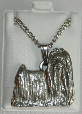 Maltese Show Cut Dog Harris Fine Pewter Pendant w Chain Necklace USA Made