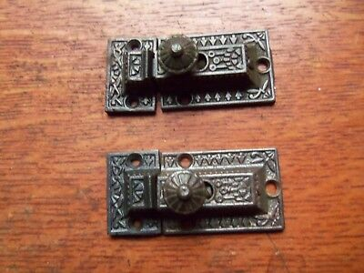 "Two Antique Fancy Cast Iron Cabinet Latches ""Windsor"" c1890"