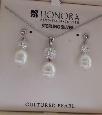 Honora White Freshwater Pearl Clear Crystal Necklace & Earrings Set New Box Qvc