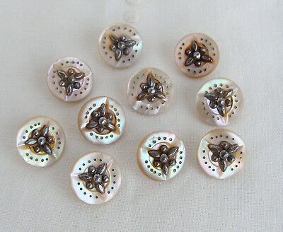 Set of 10 Antique Victorian Mother of Pearl Cut Steel Buttons