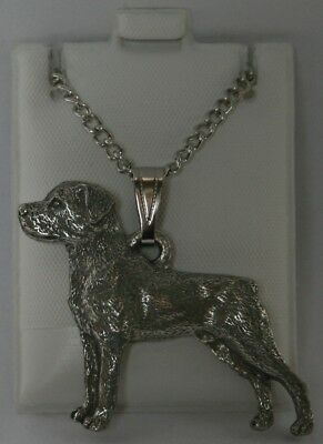 Rottweiler Dog Harris Fine Pewter Pendant w Chain Necklace USA Made