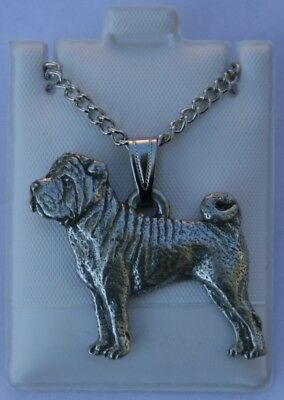 Shar Pei Dog Harris Fine Pewter Pendant w Chain Necklace USA Made