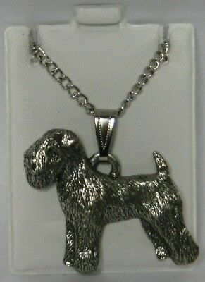 Wheaten Terrier Dog Harris Fine Pewter Pendant w Chain Necklace USA Made