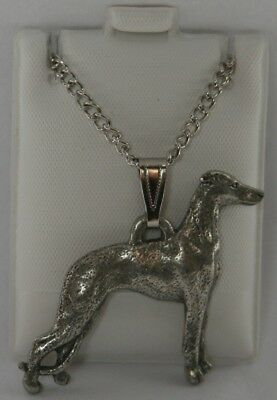 Whippet Dog Harris Fine Pewter Pendant w Chain Necklace USA Made
