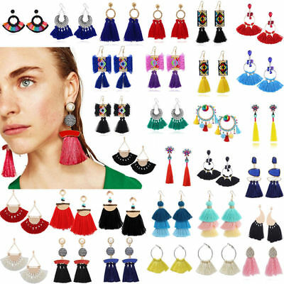 1 PAIR Women Bohemian Earrings Vintage Long Tassel Fringe Boho Dangle Earrings