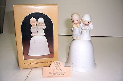 1981 Precious Moments Figurine Wedding Bell The Lord Bless You And Keep You