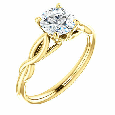 2 Ct Forever One DEF Moissanite Round Solitaire Engagement  Ring 14K Yellow