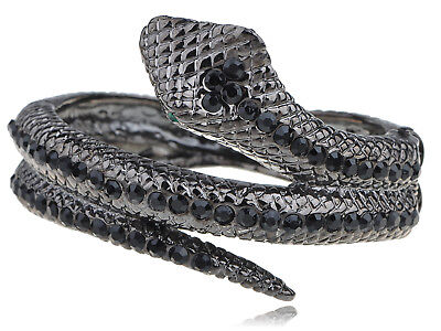 Womens Gunmetal Tone Black Rhinestones Antique Snake Wrap Bangle Bracelet