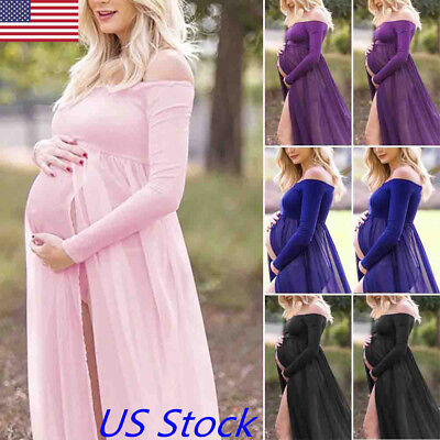 US Pregnant Women's Chiffon Maxi Dress Maternity Gown Photography Props Dresses