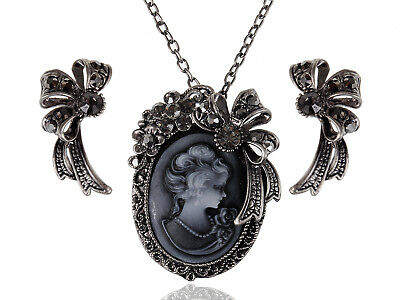 Womens Gunmetal Tone Black Vintage Victorian Cameo Lady Ribbon Necklace Earrings