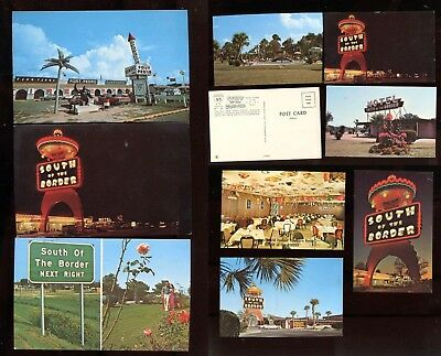 South of the Border Postcard Lot 9 Chrome Cards Dillon SC 100 Ft Tall Pedro