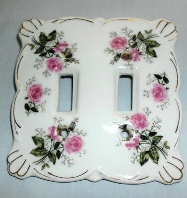 Vintage China Wall Switch Plate for Double Switches  deep pink roses / gold trim