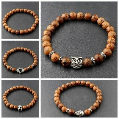 3 Pcs Men's Woman 8MM Owl Buddha Wooden Beaded Bracelets Jewelry Stretch Bangle