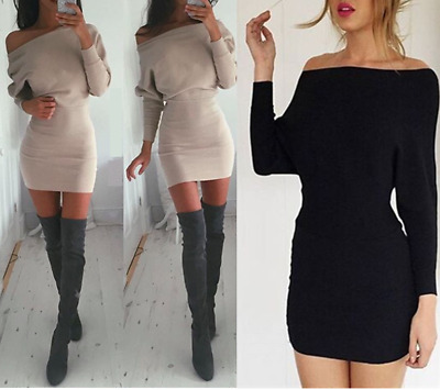Women's Sexy Off Shoulder Long Sleeve Jumper Sweater Bandage Bodycon Mini Dress