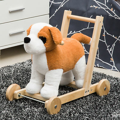 Qaba 3-in-1 Kids Ride On Push Toy Dog Toddler Rolling Walker w/ Handle & Song