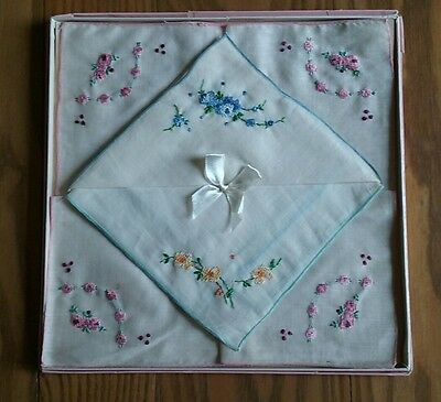 3 Vintage Nos Nwt Unused Linen Handkerchiefs In Box Hand Embroidered Petit Point