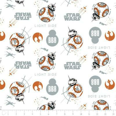 Camelot Fabric Star Wars The Last Jedi BB8 In White HALF METRE