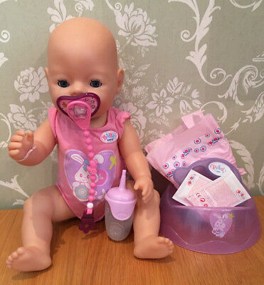 zapf creation baby born interactive girl doll & accessories - drinks wets cries