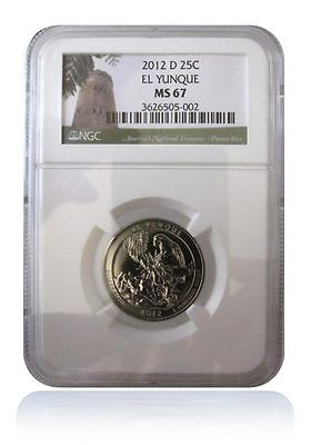 NGC MS67 2012-D El Yunque Puerto Rico National Park Quarter Gem Uncirculated