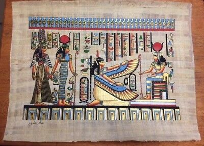 Egyptian Papyrus souvenir art Isis , Hathor , Pharaoh