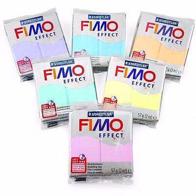 FIMO Effect Moulding Polymer Oven Modelling Clay 57g - Set of 6 - Pastel Finish