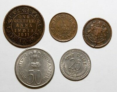 NC0159 India lote de 5 monedas - 5 coins lot