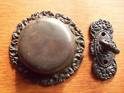 Antique Victorian Mechanical Doorbell & Fancy Cast Iron Twist  c1885