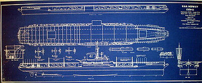 USN Aircraft Carrier USS MIDWAY CVB41 1945 Print Blueprint Plan 12x29  (263)