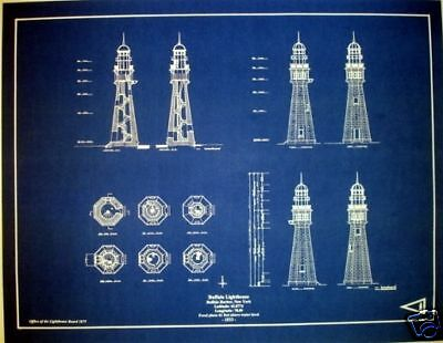 "Lighthouse at Buffalo Harbor New York Blueprint Plan 17""x22"" (278)"