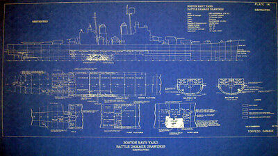 WW2 War Damage Boston Navy Yard Repair Blueprint USS Canberra CA70 16x28 (148)