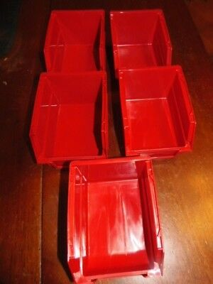 "5 - RED  STACKABLE BIN-  Parts Storage Organizer Bin, RED  5""X4""X3"" (GAR-5)"