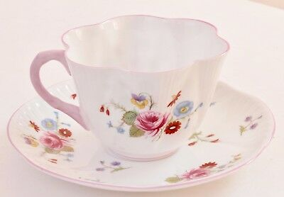 Vintage Shelley Rose and Red Daisy 13425 Cup & Saucer 2pc Set England
