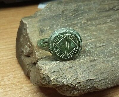 Old Antique bronze Post-Medieval Ring with  Engraved    #2080