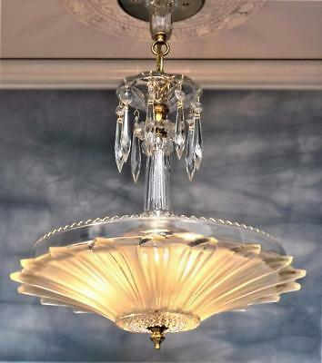 Antique Art Deco Clear/Frosted Glass Sunflower Ceiling Light Chandelier