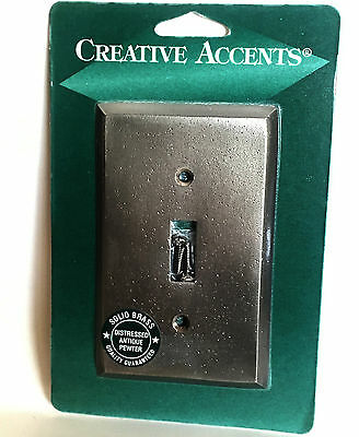 CREATIVE ACCENTS Solid Brass Distressed Antique Pewter Single Switch Wallplate