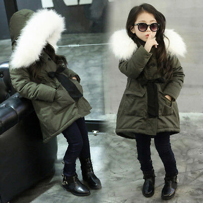 Kid Baby Girl Fur Hooded Cotton Padded Long Coat Thick Warm Jacket Parka Outwear