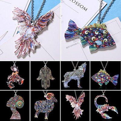 Colorful Printing Animal Fish Eagle Pendant Necklace Sweater Chain Women Jewelry