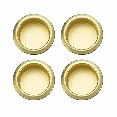 4 GATEHOUSE Recessed Bypass Sliding Closet Door Cup Pulls Polished Brass 3/4""