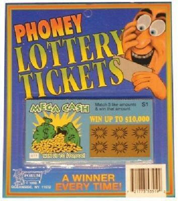Phoney Joke Lottery Tickets Pack of 2 Ticket Winner Everytime Funny Gag