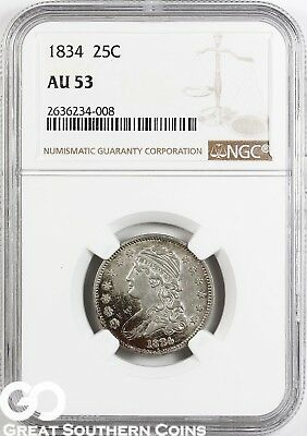 1834 NGC Capped Bust Quarter, NGC AU 53 ** Clashed Die, Free Shipping!