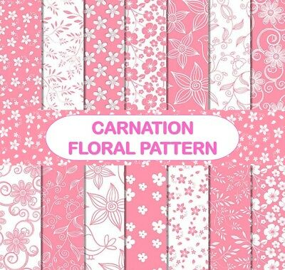 CARNATION PINK FLORAL PATTERN SCRAPBOOK PAPER - 14 x A4 pages