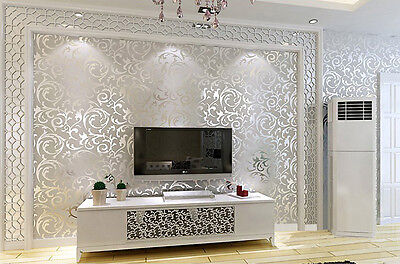 10m Natural Silver, Gold Wallpaper wall decal decor coverings 3D modern textures